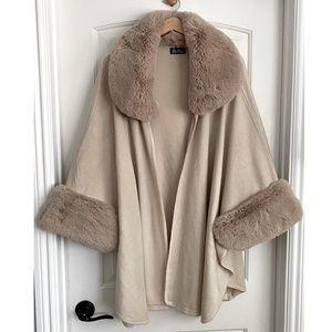 ODiva Taupe Faux Fur Trim Shawl Cape One Size